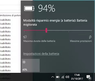 windows 10 batteria