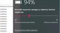 Limitazione di potenza in Windows 10 in modalità risparmio batteria