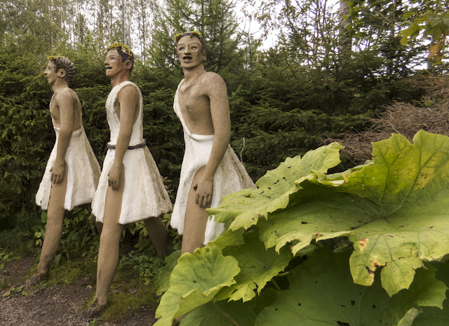 Ancient Greeks in togas at the Parikkala Sculpture Park in Eastern Finland