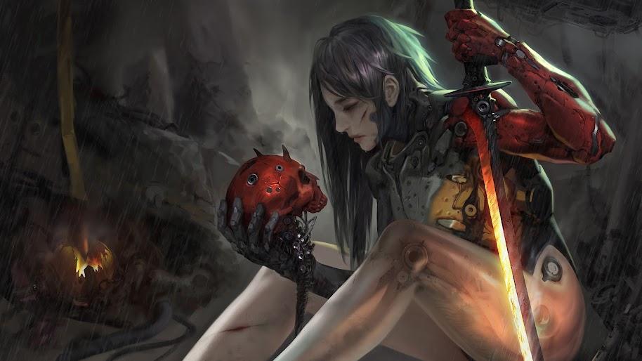 Sci-Fi, Girl, Sword, Skull, 4K, #92