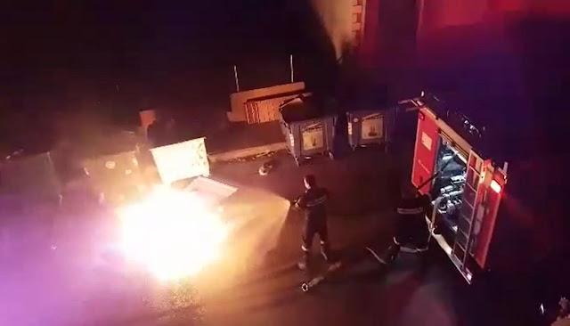 Βίντεο από τον εμπρησμό κάδου στην Ηγουμενίτσα