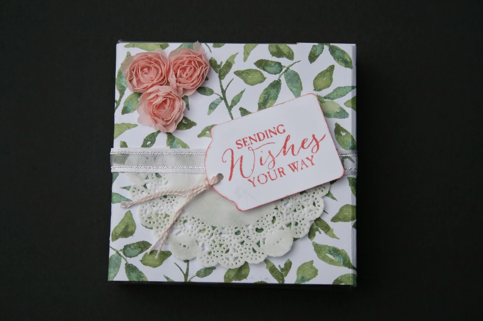 Birthday box using peach roses, doily, stamp