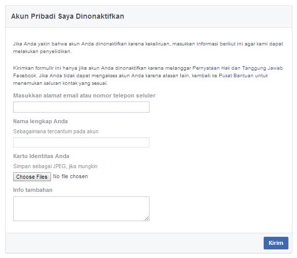 Cara mengaktifkan kembali akun facebook yang dinonaktifkan