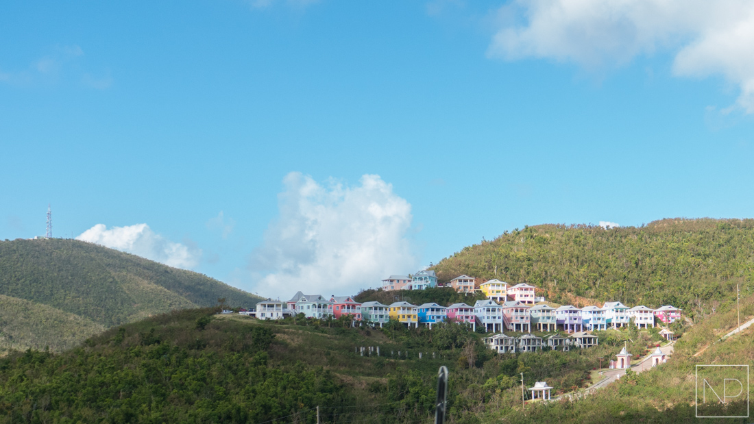 Colourful houses on the hillside in Charlotte Amalie