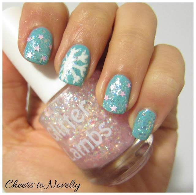 It's Snowing Cotton Candy Nail Polish by Glitter Lambs ***Cute Indie Glitter Topper For Christmas*** Custom Handmade Pink Stars Glitter Nail Polish GlitterLambs.com