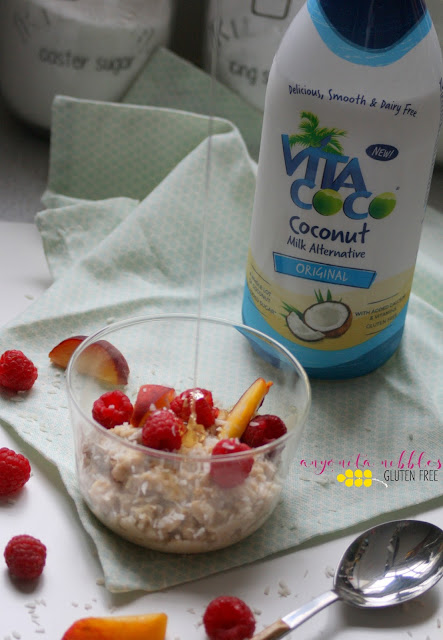 A drizzle of honey completes gluten and dairy free coconout milk overnight oats with Vita Coco coconut milk from Anyonita Nibbles