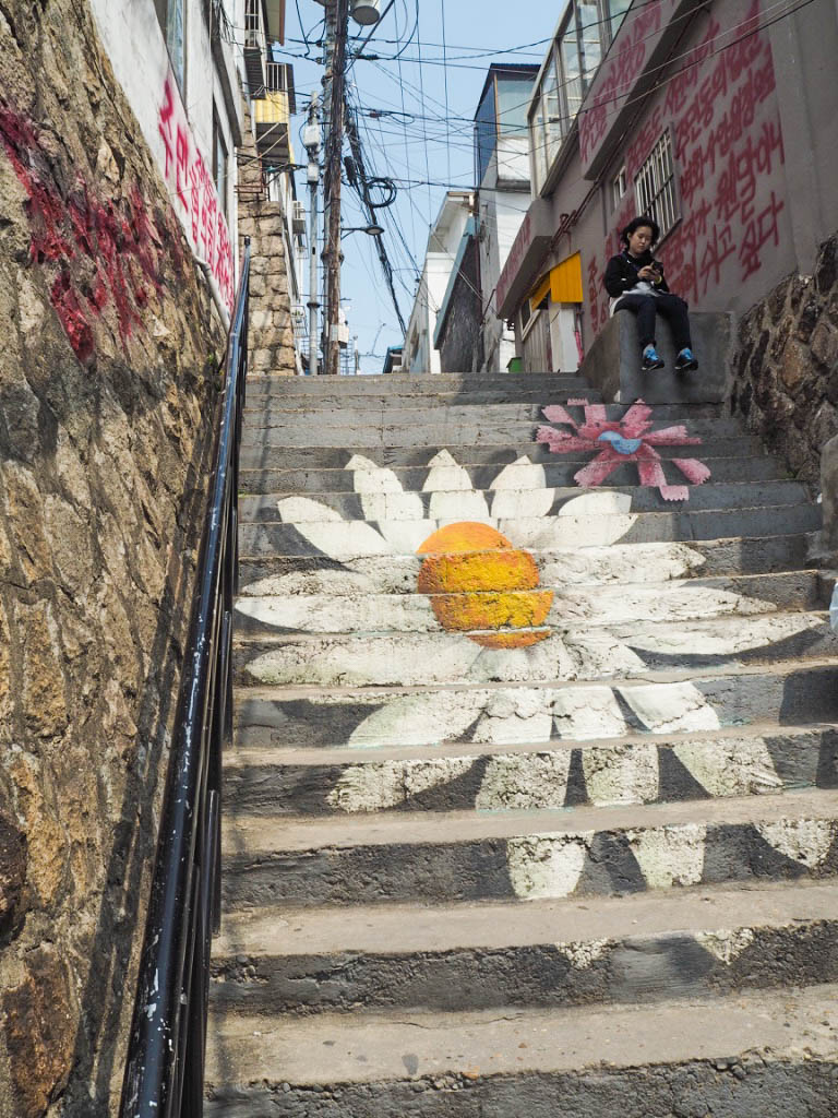 Floral mural staircase, Ihwa Mural Village, Seoul