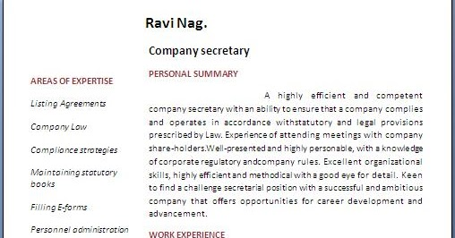 Company secretary resume format malvernweather