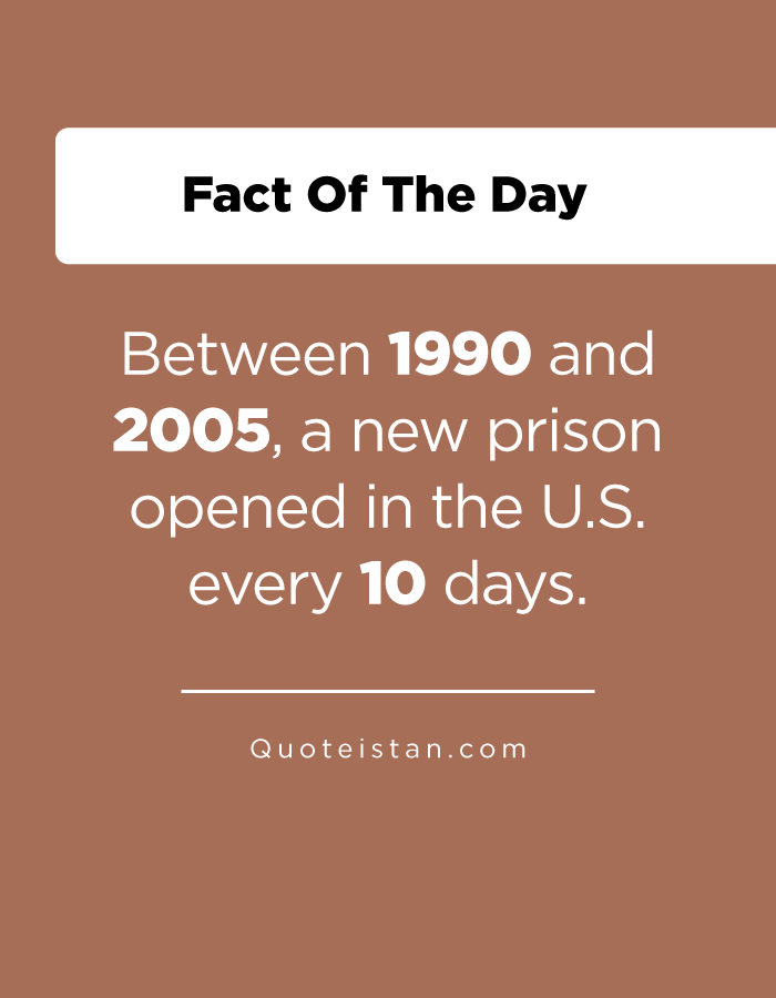 Between 1990 and 2005, a new prison opened in the U.S. every 10 days.