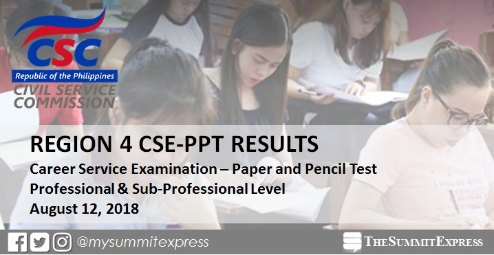LIST OF PASSERS: Region 4 August 2018 Civil service exam results CSE-PPT