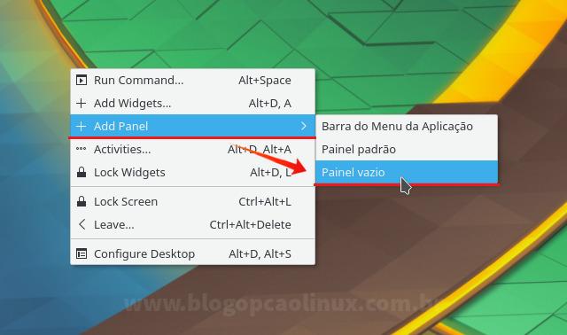 Adicionando um Painel Vazio na área de trabalho do KDE