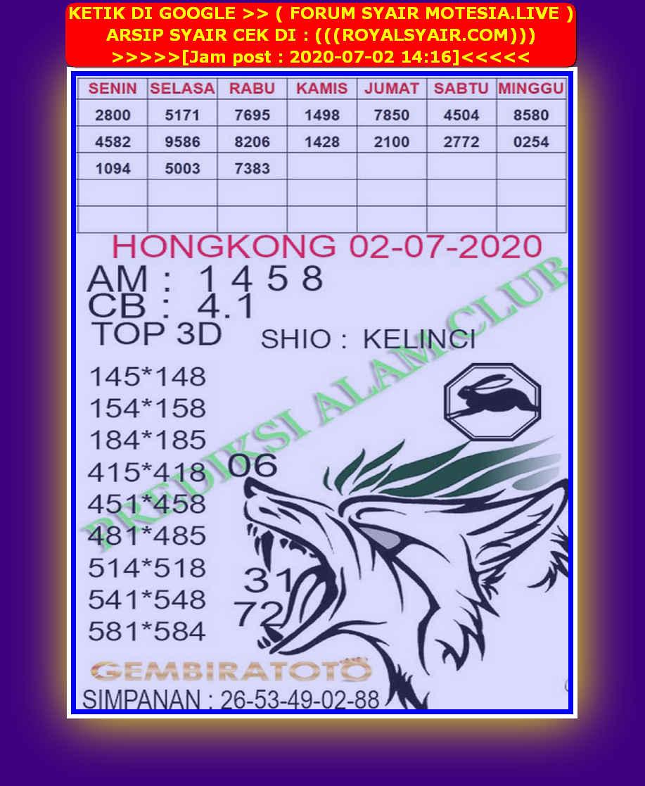 Kode syair Hongkong Kamis 2 Juli 2020 234