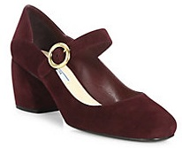 Suede Mary Jane Block-Heel Pumps