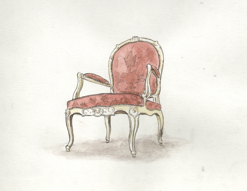 King Louis XV Chair Drawing