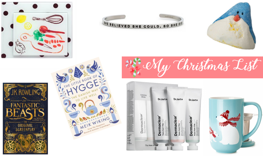 bbloggers, bbloggersca, canadian beauty bloggers, lbloggers, the little book of hygge, fantastic beasts, kate spade prep boards, dr. jart+ clay masks, mantraband, lush penguin, davidstea polar bear mug, wishlist, christmas, list, books, skincare, tea