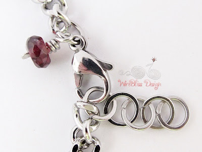 Wire wrapped Minima Bracelet (Minlet) with Garnet and Box Link Stainless Steel Chain & Clasp