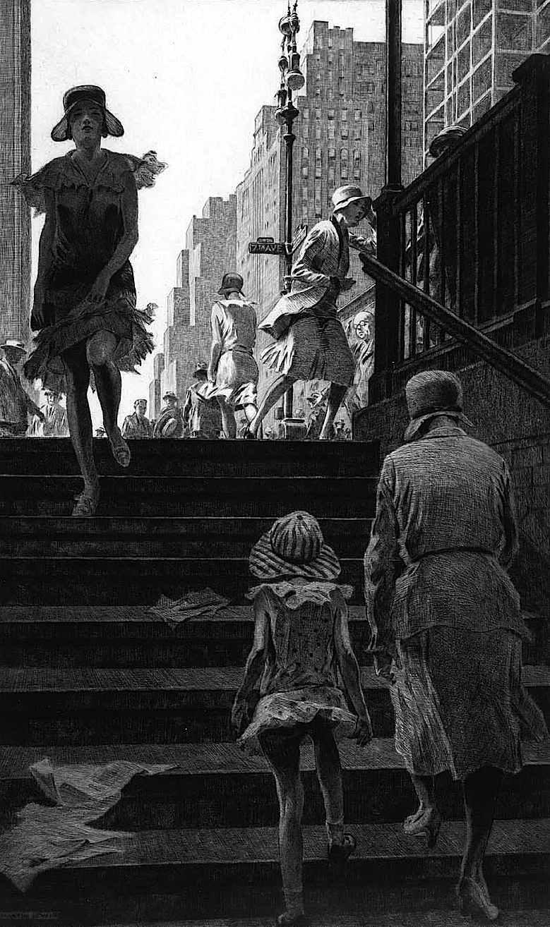 a 1930 Martin Lewis print, Subway Steps