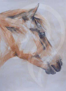 mixed media painting of horse, equestrian art, heaven is