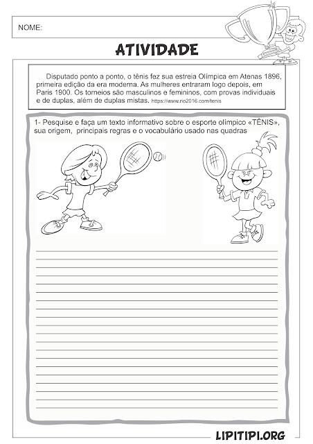 Atividade Esporte Olímpico Tênis Pesquisa e Produção de texto informativo