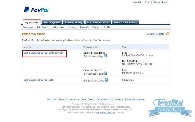 mencairkan saldo paypal ke rekening bank lokal indonesia