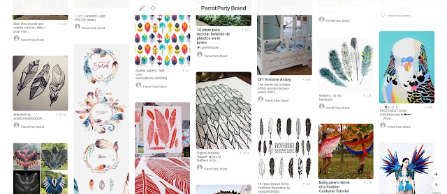 Using Pinterest for branding: feather graphics examples