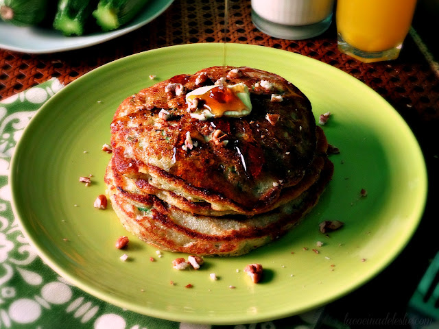 Pancakes with Fresh Zucchini & Pecans - lacocinadeleslie.com