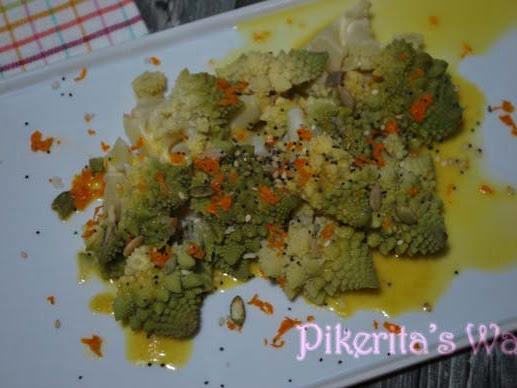 Romanescu con salsa de naranja