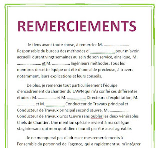 exemple de remerciement mémoire, exemple d'un remerciement d'un rapport de stage,