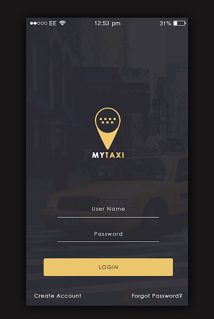 Taxi App Login screen