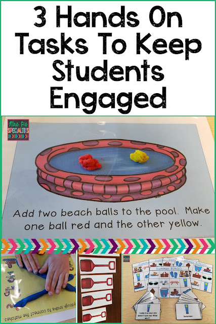 Here are 3 hands on learning tasks to keep students engaged during the summer months. These ideas are great to use at the end of the school year or during summer school (ESY program). Ideal for special education classrooms, speech therapists and students with autism.