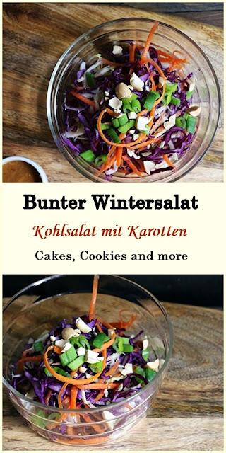 Bunter Wintersalat - Kohlsalat mit Weisskohl, Rotkohl und Karotten