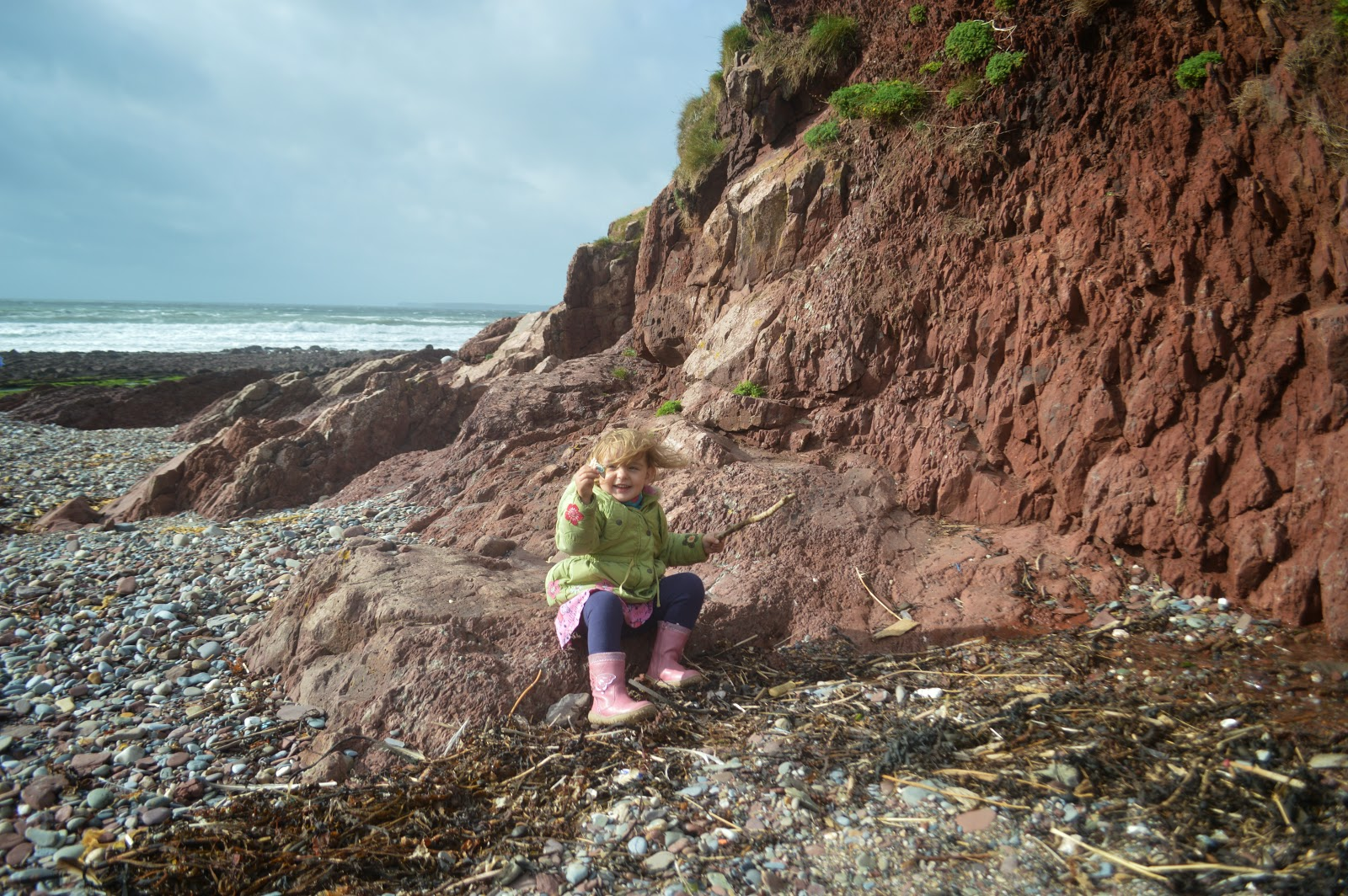 Toddler Izzy at Manorbier, Pembrokeshire, Wales