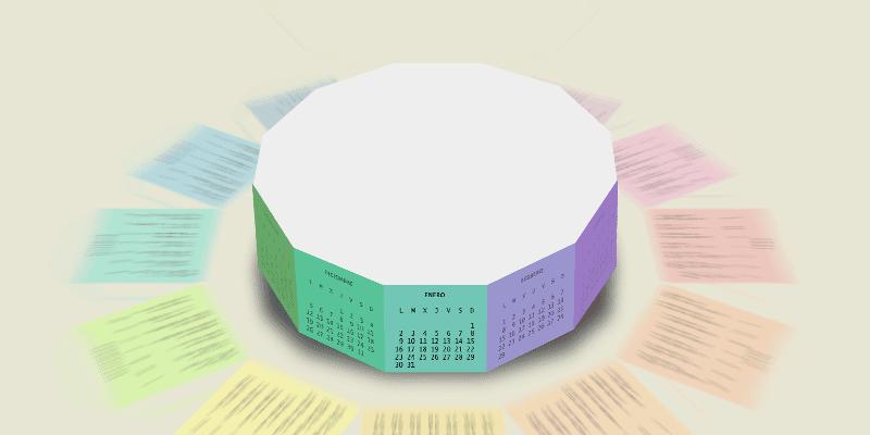 Prismaticalendario dodecagonal 2017