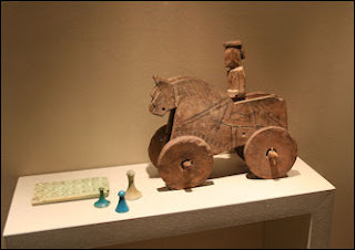 Ancient Egyptian horse-and-rider pull toy