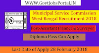 Municipal Service Commission West Bengal Recruitment 2018 –12 Assistant Planner & Surveyor