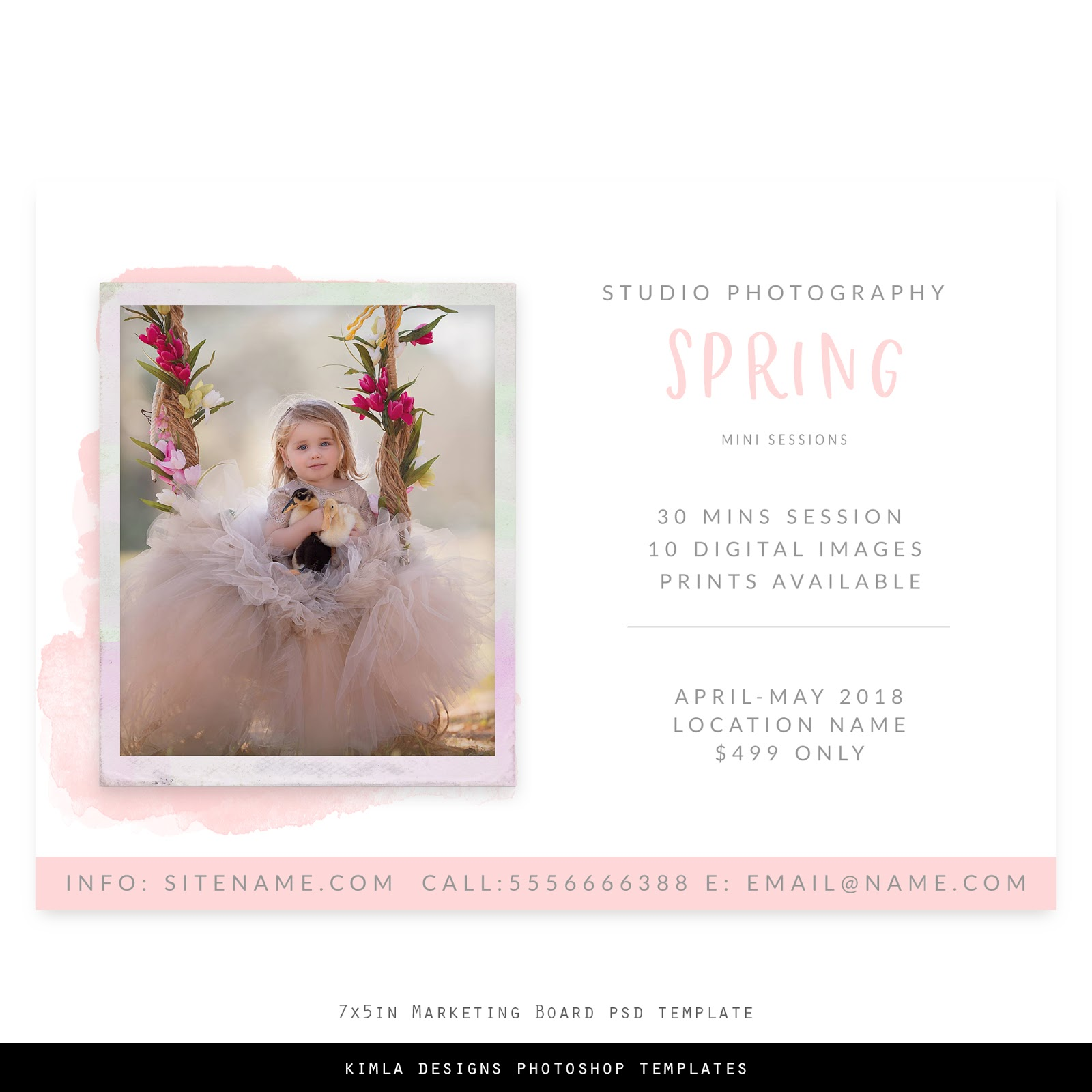Spring Mini Session Free Marketing Board Template for Photographers