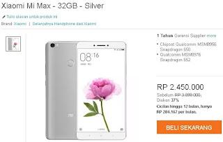 Harga Xiaomi Mi Max 32 GB dengan RAM 3 GB
