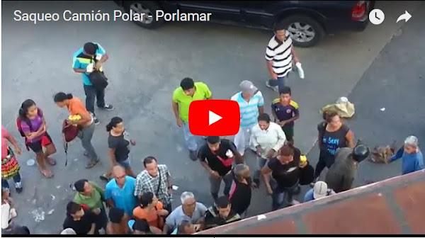 Saquearon camiones con alimentos en Porlamar