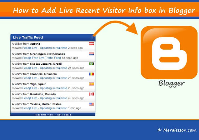 How to Add Live Recent Visitors Info Box in Blogger