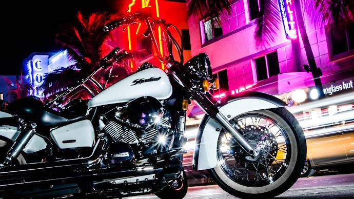 Wallpaper: New York. Night. Street. Motorcycle