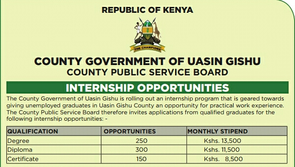 Uasin Gishu county internships 2019/2020