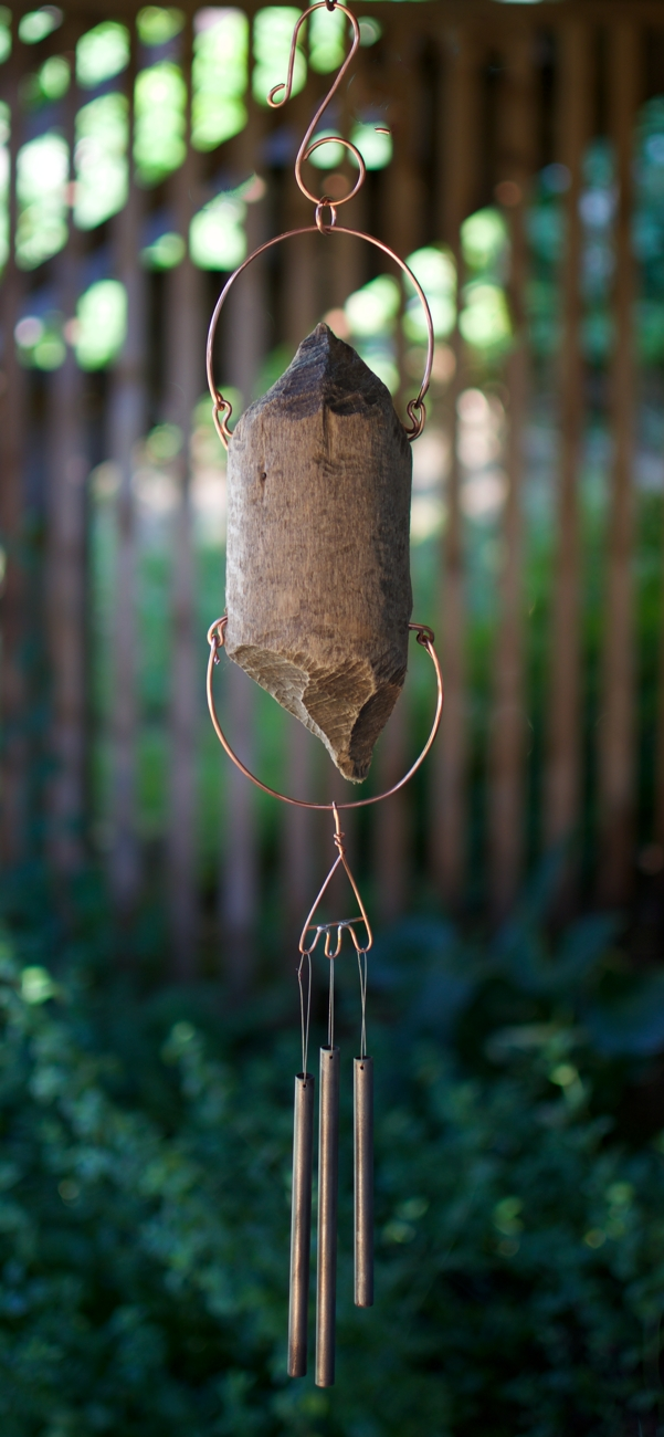 Beaver cut driftwood, 3 handcrafted brass chimes: Coast Chimes