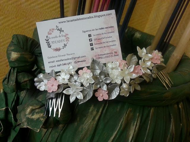 tocado de novia realizado con porcelana fria