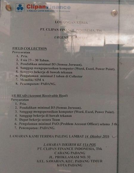 Lowongan Kerja di Padang – PT.Clipan Finance Indonesia,Tbk – 2 Posisi (Penutupan 14 Okt.2016)