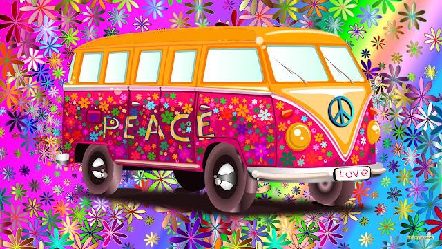 VW busje uit de flower power tijd