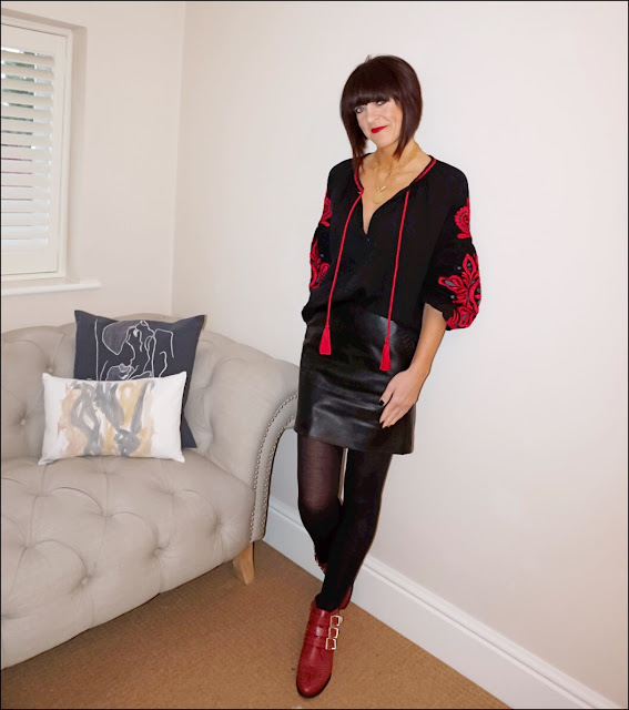 My Midlife Fashion, zara embroidered sleeve blouse, marks and spencer faux leather a line skirt, office lucky charm boots