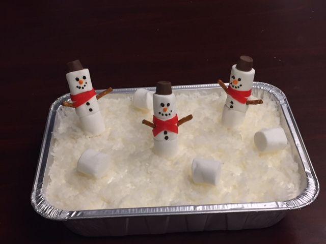 Coconut Poke Cake with Marshmallow Snowmen