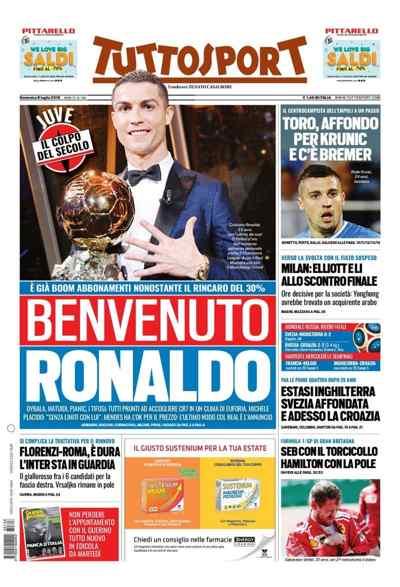 Surat kabar Italia Sudah Membuat Berita Penyambutan untuk Ronaldo