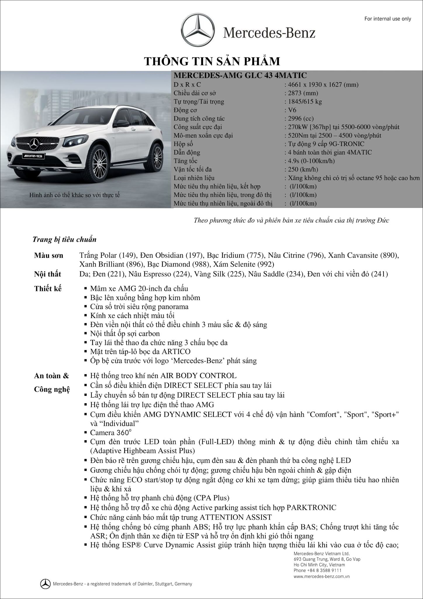 Bảng thông số kỹ thuật Mercedes AMG GLC 43 4MATIC 2019 tại Mercedes Trường Chinh