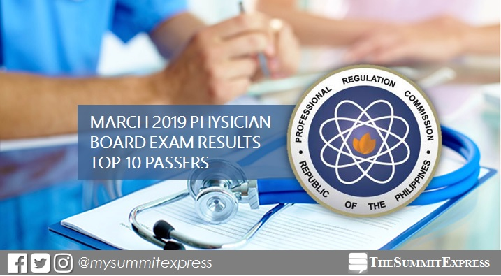 PLE RESULT: March 2019 Physician board exam top 10 passers